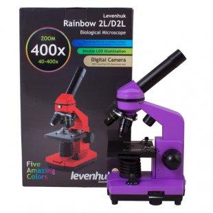 Mikroskopas Levenhuk Rainbow 2L Amethyst 40x - 400x su eksperimento komplektu K50